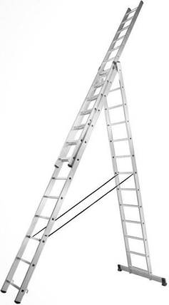 Алюминиевая трехсекционная усиленная лестница Stark 3*12 SVHR3x12pro, фото 2