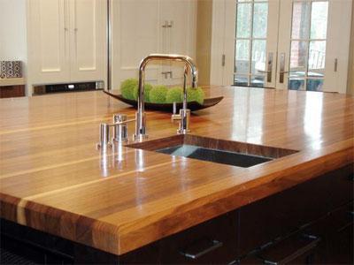 Дерев'яна стільниця в кухню у стилі LOFT із масиву ясена