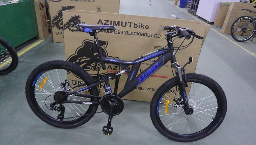 "Велосипед 2-х кол. Azimut Blackmount G-FR/D 24"" черно-синий Shimano, противоударные диски"