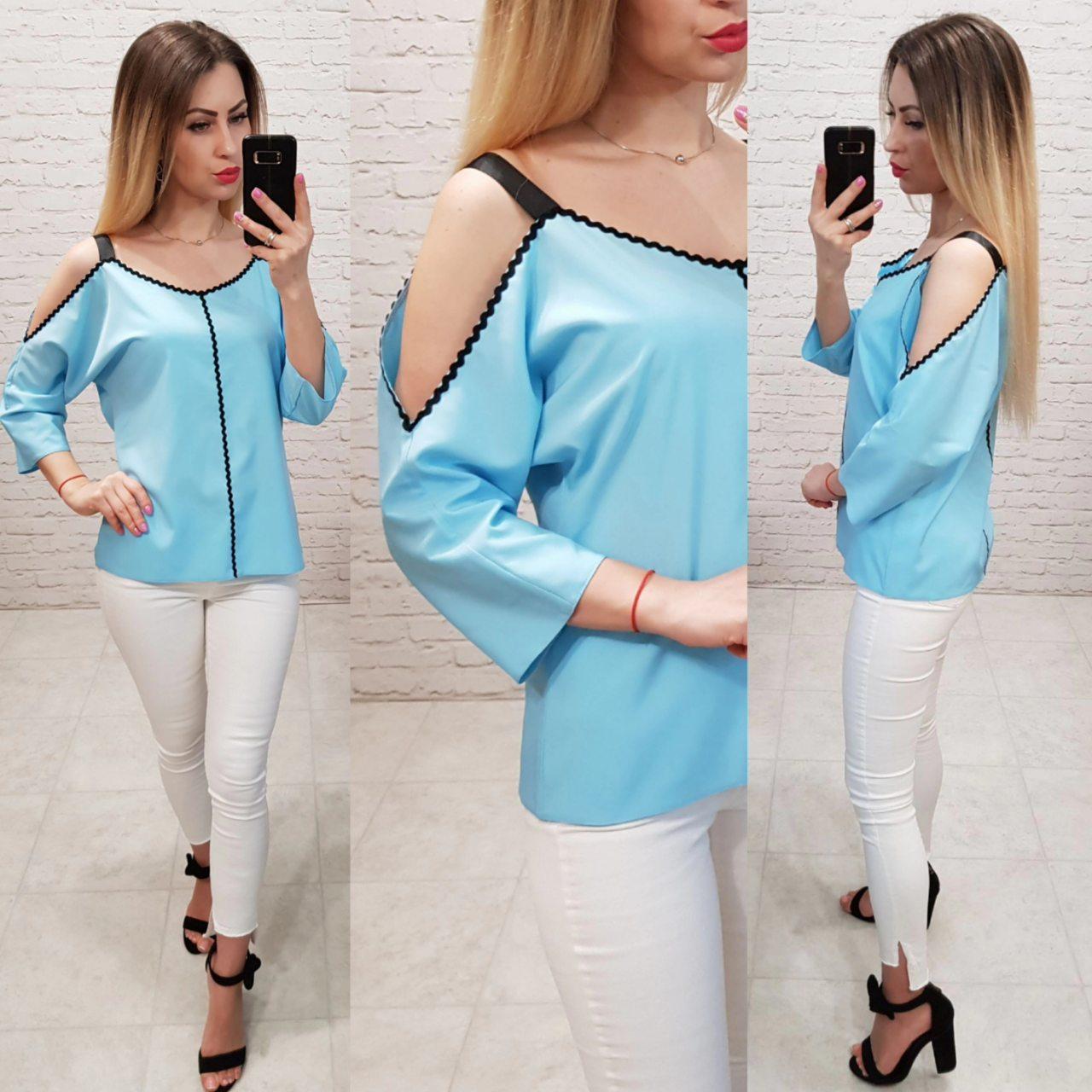 851f2ba6f8b Блузка арт 159 голубая - Интернет магазин женской одежды Khan в Одессе