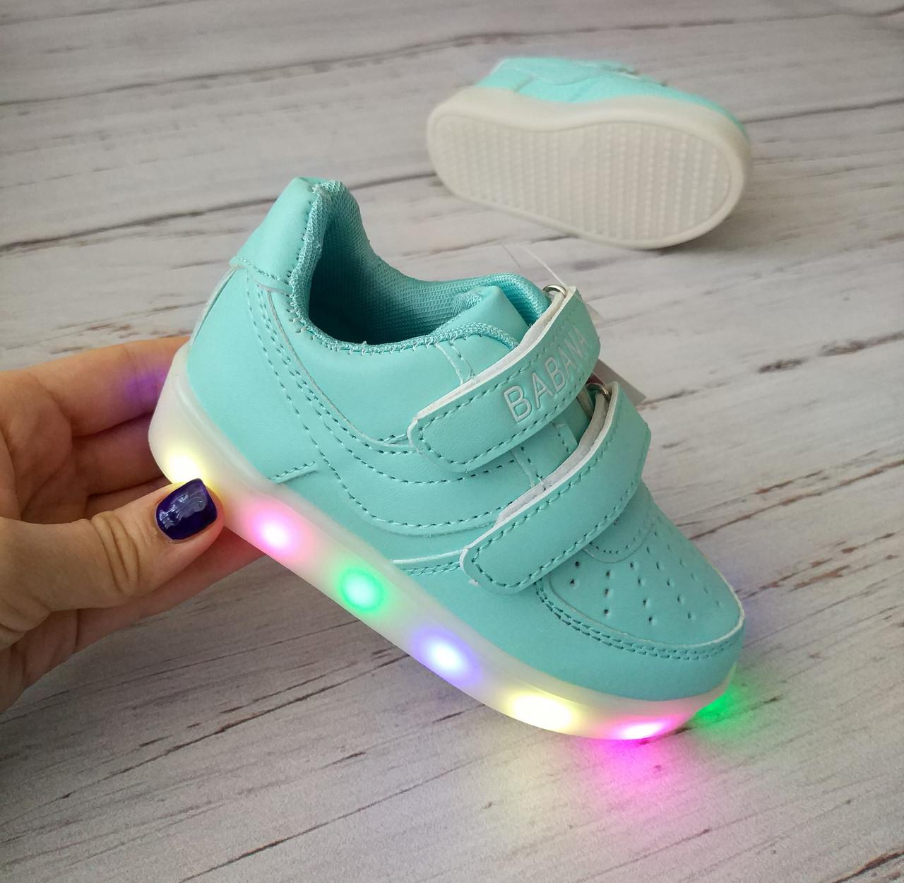 Обувь для девочек, детские кроссовки с подсветкой голубые Babana (Польша)