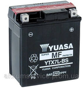 Аккумулятор мото Yuasa MF VRLA 6 AH/ 100А YTX7L-BS(CP)