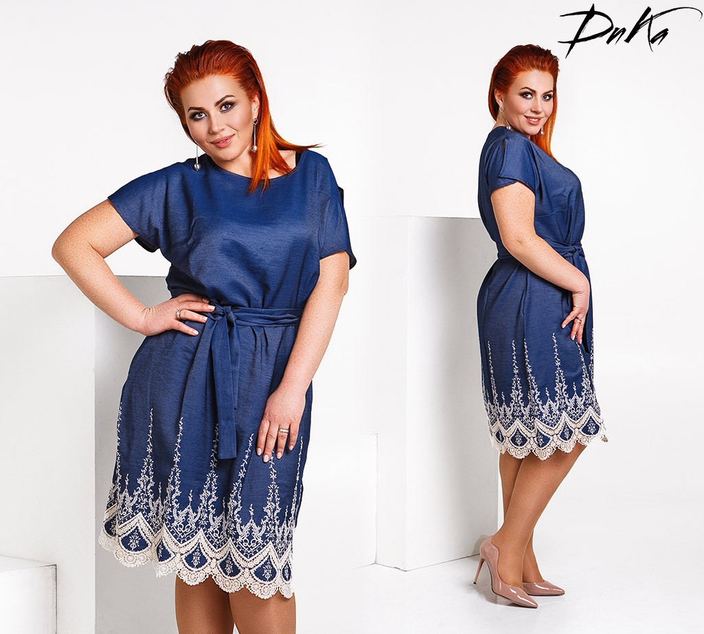 9ac47274327 Платье женское нарядное свободного кроя тонкий джинс декор вышивка  кружевная батал размеры 50-52