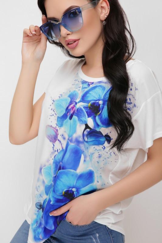 Футболка Air синие орхидеи принт -молоко (42-56)