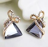 Женские серьги Треугольники с серыми камнями код 1536, фото 2