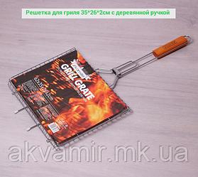 Решетка для гриля, барбекю Скаут 35*26*2см с деревянной ручкой
