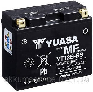 Аккумулятор мото Yuasa MF VRLA 10.5 AH/ 210А YT12B-BS(CP)