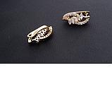 Позолоченные женские серьги с белыми фианитами  код 1541, фото 4