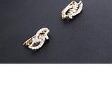 Позолоченные женские серьги с белыми фианитами  код 1541, фото 5