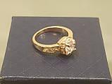 Позолоченное кольцо женское с белыми фианитами код 1542, фото 3
