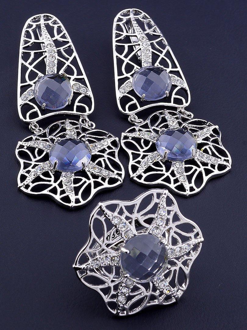 Комплект украшений серьги и кольцо с сиреневыми фианитами код 1555
