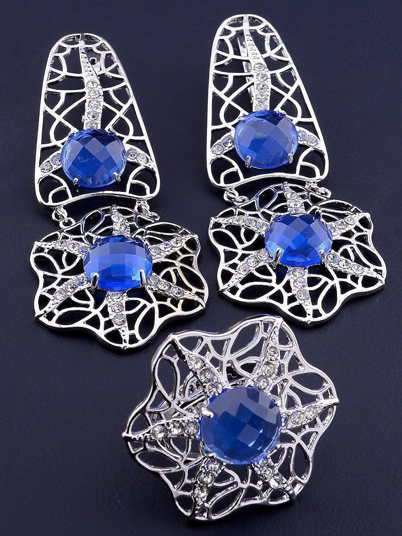 Комплект прикрас сережки і кільце з синіми фіанітами код 1558