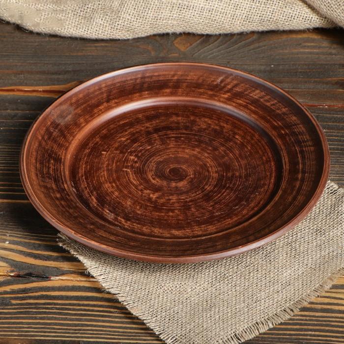Тарелка из красной глины, диаметр 25 см
