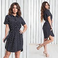 Платье - рубашка женское лето с разрезами по бокам (M(44), L(46), XL(48), XXL(50)) (цвет горох) СП