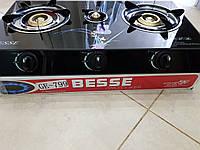 Газовая плита Besse на 3 конфорки со стеклокерамической поверхностью