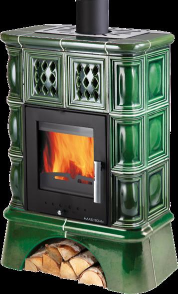 Отопительная печь-камин Haas+Sohn Treviso 2 Зеленая с кафельной ножкой (Кафельная печь, каминофен)