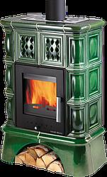Зелена керамічна піч для обігріву будинку Haas+Sohn Treviso 2 з кахельною ніжкою