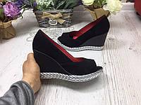 Женские туфли на танкетке ЗАМШ