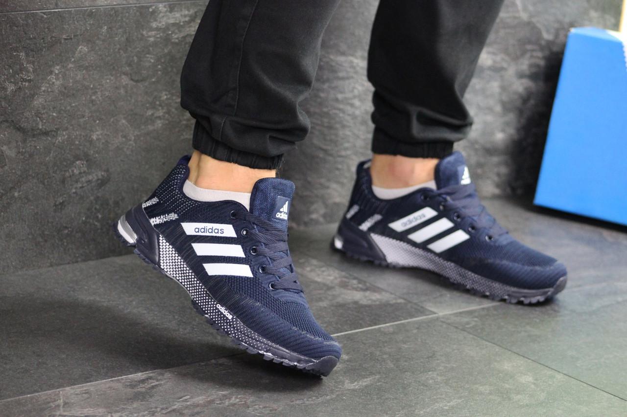 Мужские кроссовки Adidas Marathon (темно-синие с белым)