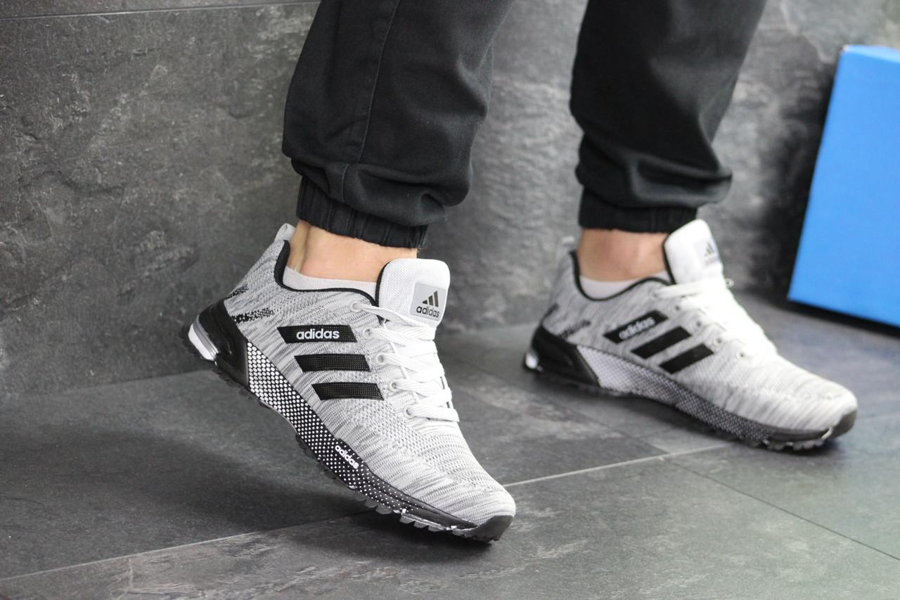 Мужские кроссовки Adidas Marathon (серо-черные)