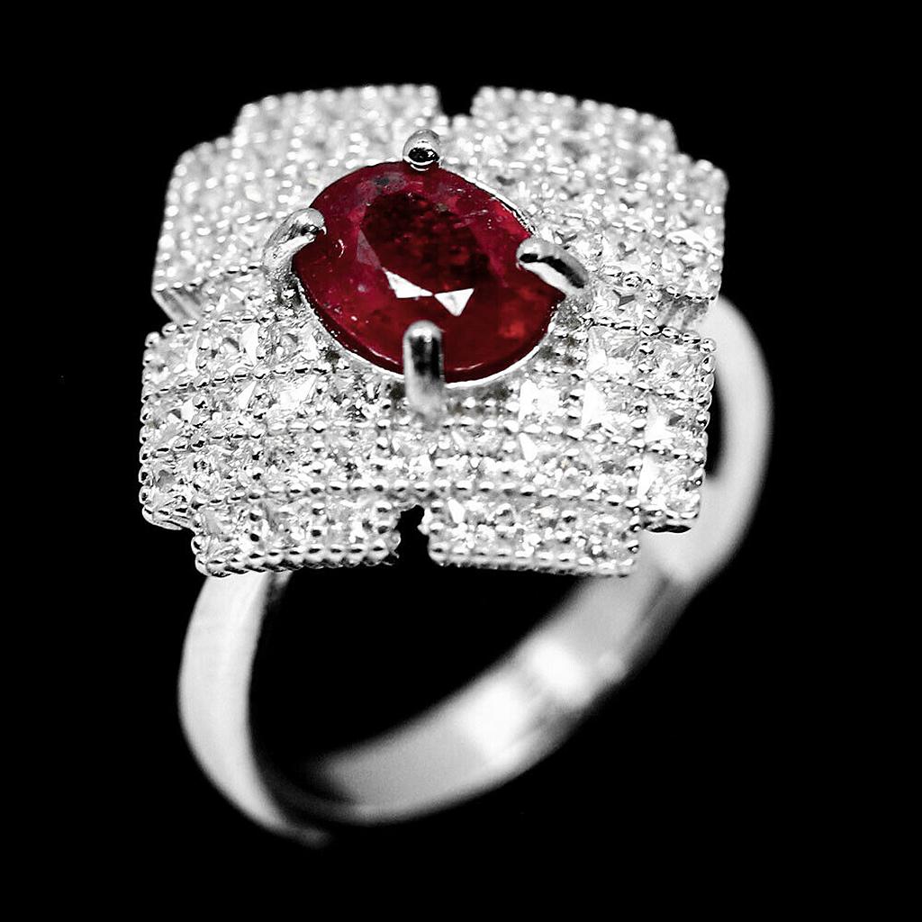 Кольцо из серебра с натуральным рубином, серебро 925, 1640КЦР
