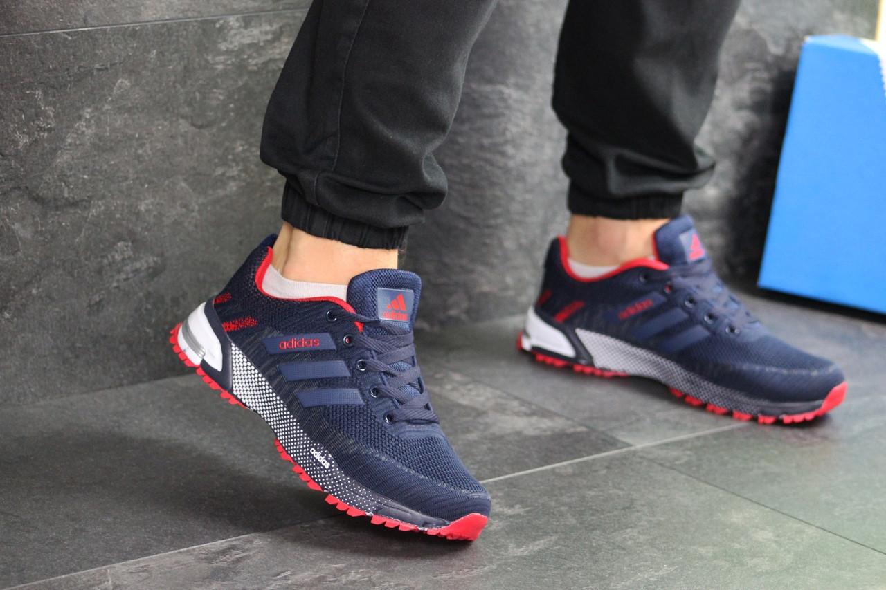 Мужские кроссовки Adidas Marathon (темно-синие с красным)
