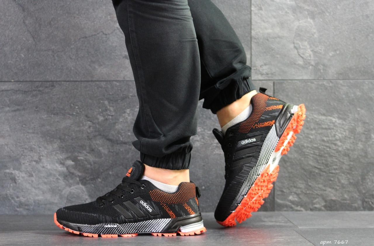 Чоловічі кросівки Adidas Marathon (чорно-помаранчеві)