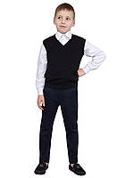 """Жилет для мальчика трикотажный  М-966  рост 110 116 122 128 134 140 146  и 152 черный тм """"Попелюшка"""", фото 1"""