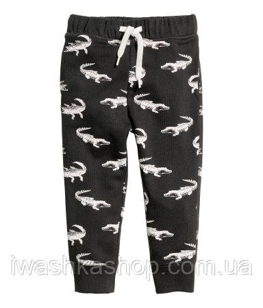 Стильные спортивные штаны двунитка, джоггеры черные с крокодилами на мальчика 7 - 8 лет, р. 128, H&M