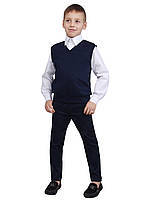"""Жилет для мальчика трикотажный  М-966  рост 116 122 128 134 140 146 152 синий тм """"Попелюшка"""", фото 1"""