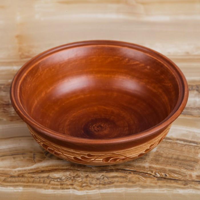 Миска глиняная дачная малая, ангоб, 0,5 л