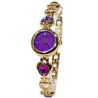 ☀ Часы Pollock Изумруд Purple сверкающие с камнями модные часы для девушек кварцевые