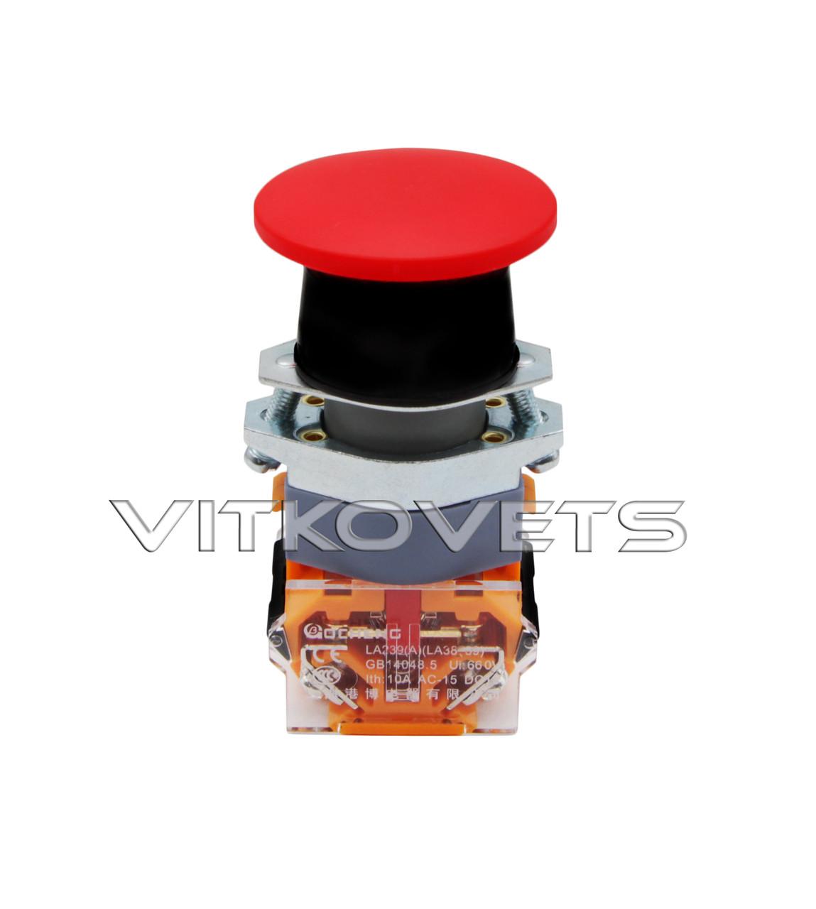 Кнопка аварийной остановки LA39-11M без фиксатора (красная)