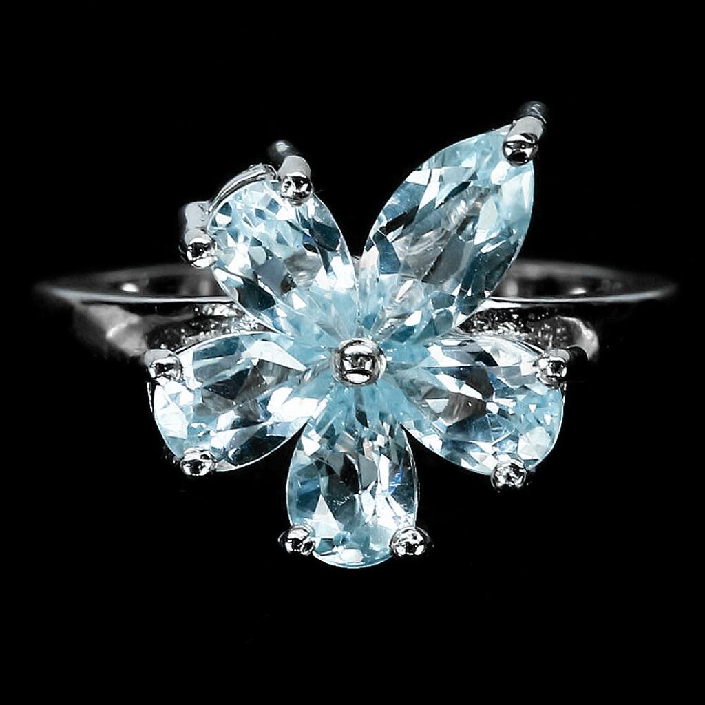 Кольцо из серебра с натуральным голубым топазом, серебро 925, 1641КЦТ