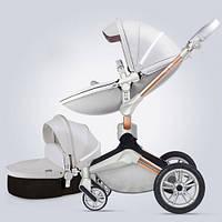 Детская коляска Hot Mom 2в1 серебряная