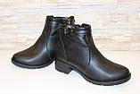 Ботильоны женские черные на небольшом каблуке натуральная кожа код Д572, фото 4