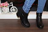 Ботильоны женские черные на небольшом каблуке натуральная кожа код Д572, фото 7