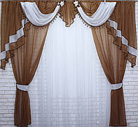 Комплект ламбрекен со шторами на карниз 3м. №28. Цвет коричневый с белымУ
