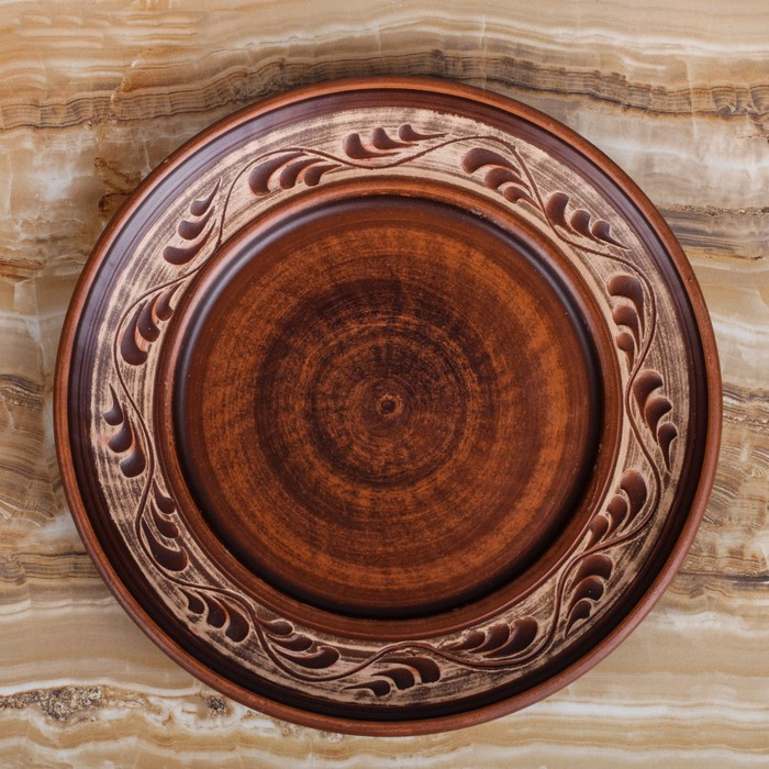 Тарелка глиняная ангоб, 20 см