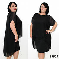 Летнее платье с шифоновой накидкой,черное 50,52,54,56