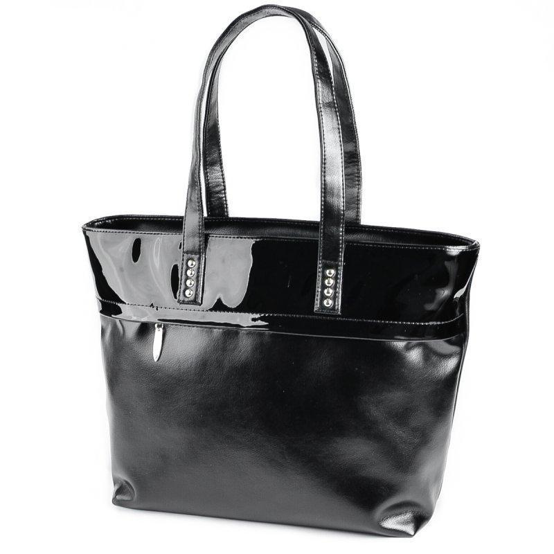 Містка жіноча чорна сумка код 15-161