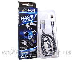 USB кабель Aspor Magnetic 360 Micro, 1м/2.1A