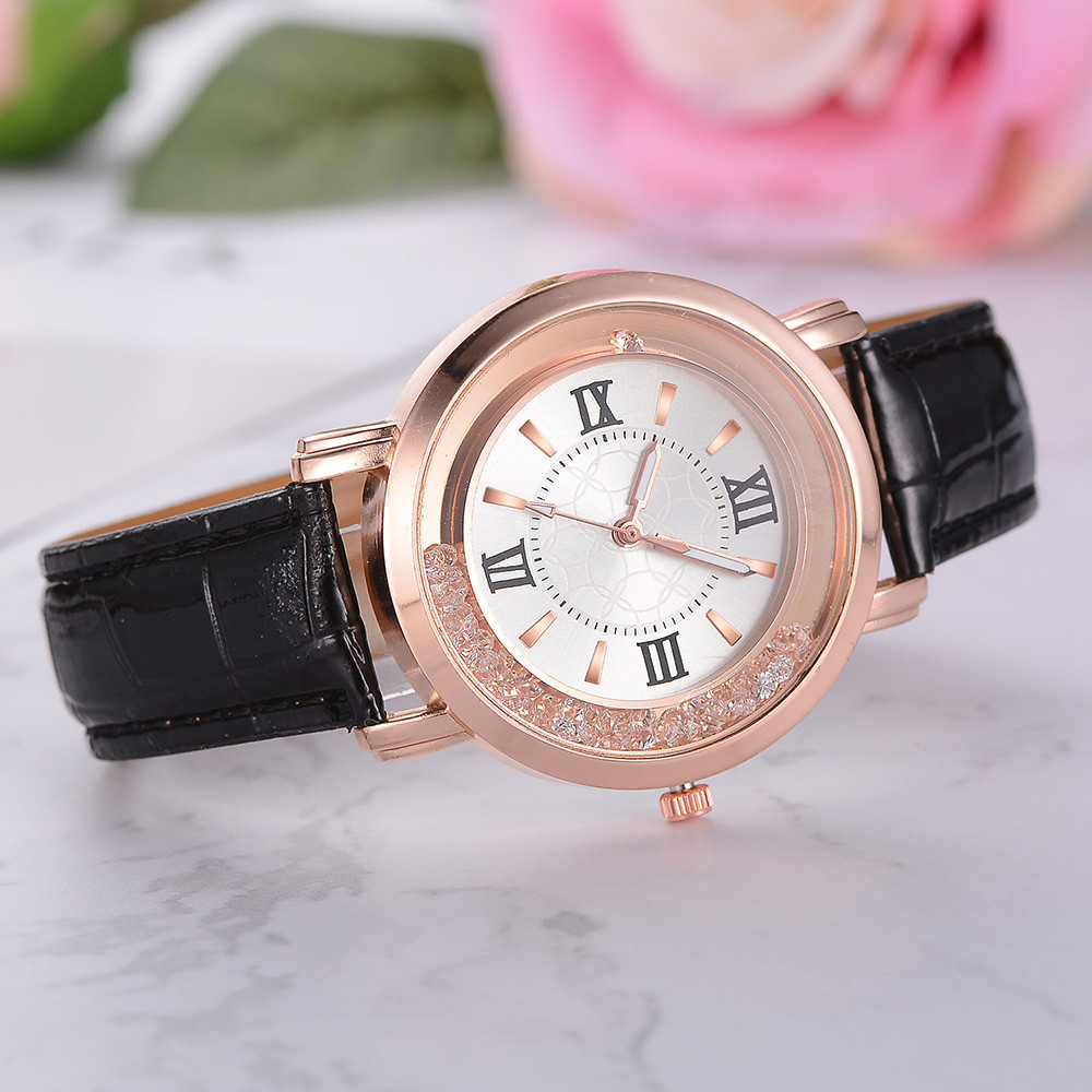 Женские наручные часы с черным ремешком код 470