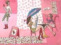 Декупажная карта-салфетка Подружки (розовый фон)