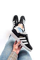 Кроссовки Adidas Gazelle Black with white Черные с белым