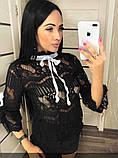 Блузка женская черная на завязках П92, фото 2