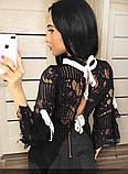Блузка женская черная на завязках П92, фото 3