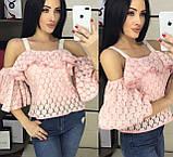 Блузка жіноча рожева гіпюр П93, фото 3