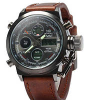 Армейские наручные часы AMST 790 (коричневый кожаный ремень)