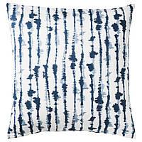ИКЕА STRIMSPORRE (204.326.54) Чехол на подушку, Наволочка белый, синий 50x50 см